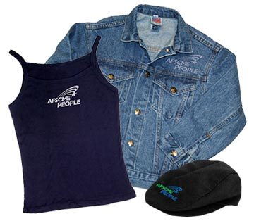 Tank top, jean jacket and flat cap with AFSCME PEOPLE logo